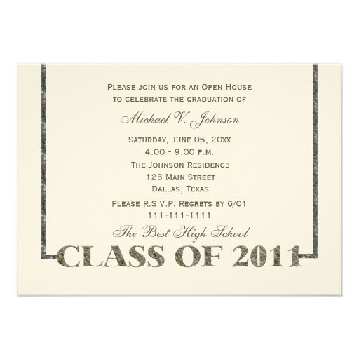 Open house graduation invitation felt invite zazzle for Graduation open house invitation
