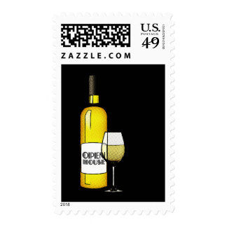 open house : halftone wine postage stamp