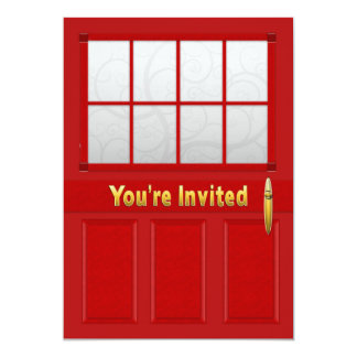 Open House Invitation - Red Doors - Gold Text