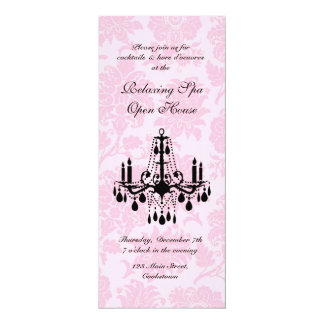Open House Pink Victorian Damask 4x9.25 Paper Invitation Card