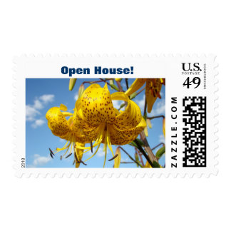 Open House! postage stamps Event Invitations Lily