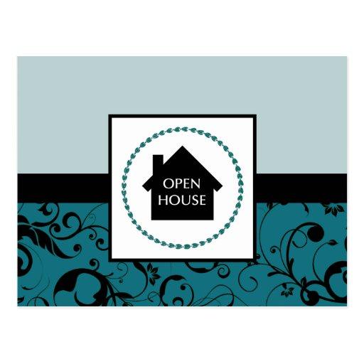 open house : professional damask postcard