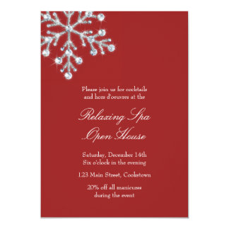 Open House Red Offset Crystal Snowflake 5x7 Paper Invitation Card