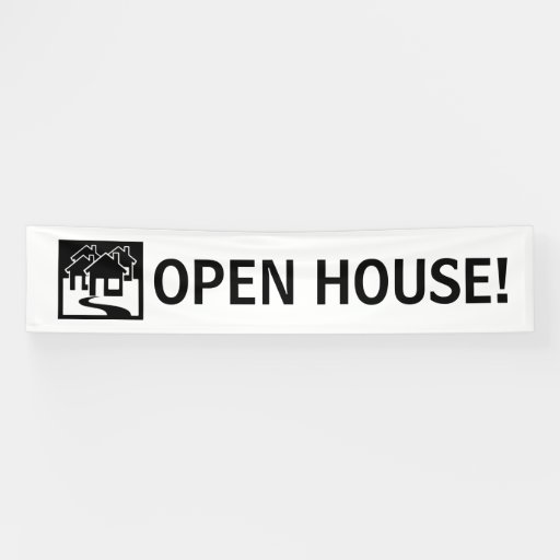 Open House simple black white house banner sign