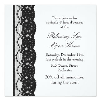 Open House White French Lace 5.25x5.25 Square Paper Invitation Card