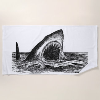 OPEN JAWS Great White Shark Art Beach Towel