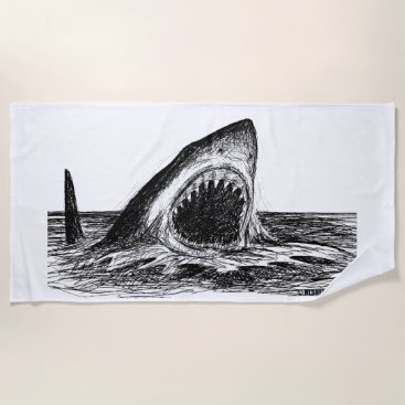 Beach Themed OPEN JAWS Great White Shark Art Beach Towel