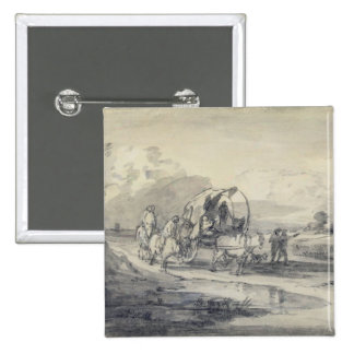 Open Landscape with Herdsman and Covered Cart, c.1 Buttons