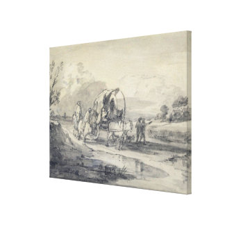 Open Landscape with Herdsman and Covered Cart, c.1 Canvas Print