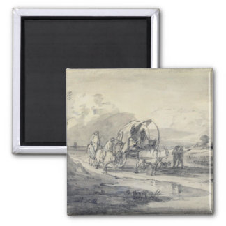 Open Landscape with Herdsman and Covered Cart, c.1 2 Inch Square Magnet