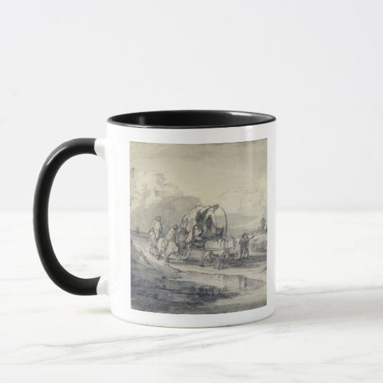 Open Landscape with Herdsman and Covered Cart, c.1 Mug