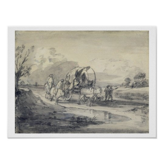 Open Landscape with Herdsman and Covered Cart, c.1 Poster