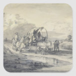 Open Landscape with Herdsman and Covered Cart, c.1 Square Sticker