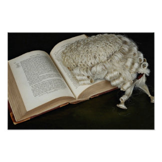 Open law book with wig, England Poster