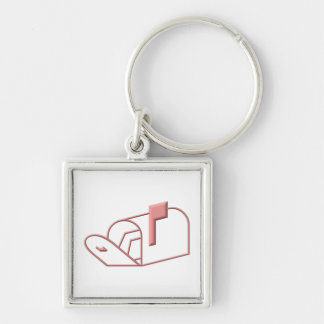 Open Mailbox Silver-Colored Square Keychain