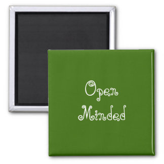 Open Minded. Green Swirly Text. 2 Inch Square Magnet