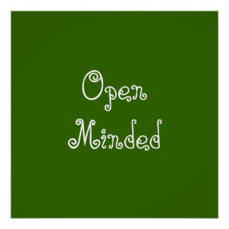Open Minded. Green Swirly Text. Print