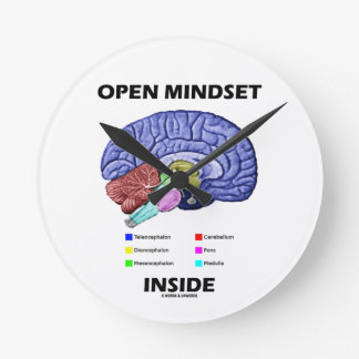 Open Mindset Inside (Anatomical Brain) Round Wallclocks