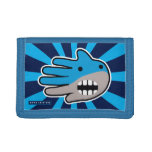 Hand shaped Open Mouth Blue Shark Trifold Wallets