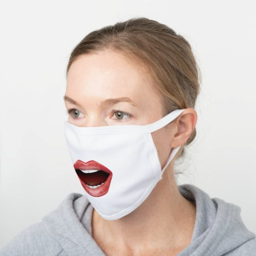 Open Mouth Funny White Cotton Face Mask