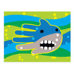 Hand shaped Open Mouth Shark Postcard