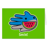 Hand shaped Open Mouth Shark Smile Wide as Watermelon Card