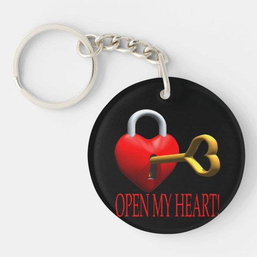 Open My Heart Double-Sided Round Acrylic Keychain