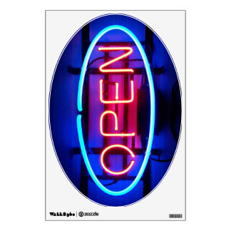 Open Neon Sign Wall Decal