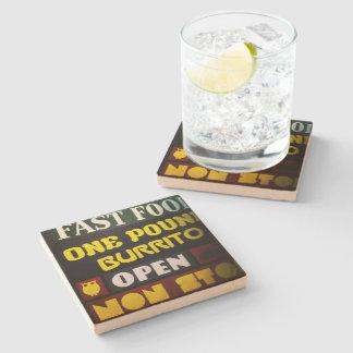 """""""Open non stop"""" Sandstone Stone Beverage Coaster"""