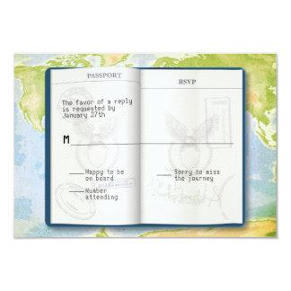 "Open Passport Bar Bat Mitzvah Reply 3.5"" X 5"" Invitation Card"
