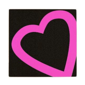 Open, pink heart wooden coaster. wooden coaster