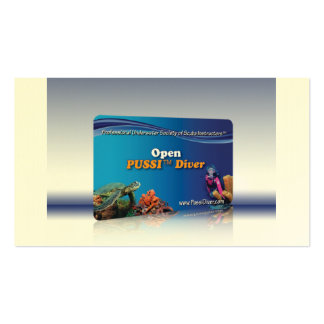 """""""Open PUSSI Diver"""" Certification Card Business Cards"""