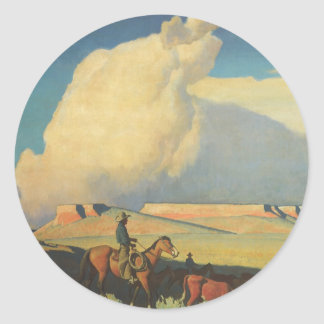Open Range by Maynard Dixon, Vintage Cowboys Classic Round Sticker