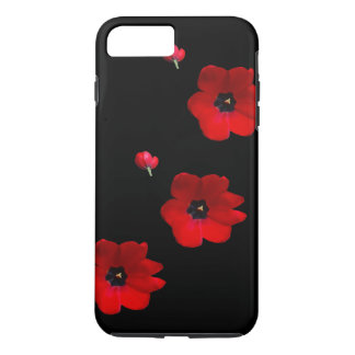Open Red Tulips on Black Cell Phone Case