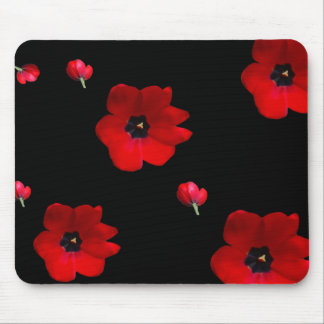 Open Red Tulips on Black Mouse Pad