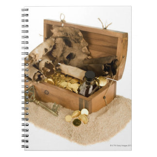 Open replica of treasure chest on sand notebook