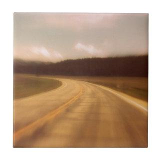 Open Road Nostalgic Postcard Image Ceramic Tile