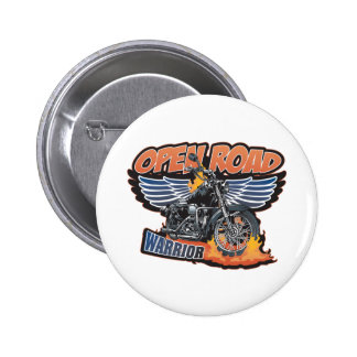 Open Road Warrior Motorcycle Wings 2 Inch Round Button