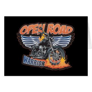 Open Road Warrior Motorcycle Wings Greeting Card