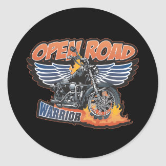 Open Road Warrior Motorcycle Wings Classic Round Sticker