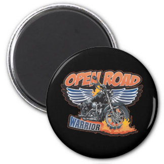 Open Road Warrior Motorcycle Wings 2 Inch Round Magnet
