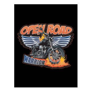 Open Road Warrior Motorcycle Wings Postcard