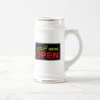 Open Sign 18 Oz Beer Stein