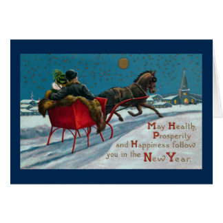 Open Sleigh Ride Vintage New Year Card