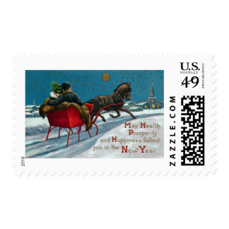 Open Sleigh Ride Vintage New Year Postage