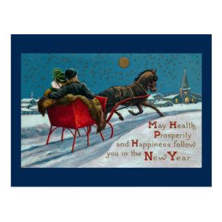 Open Sleigh Ride Vintage New Year Postcard