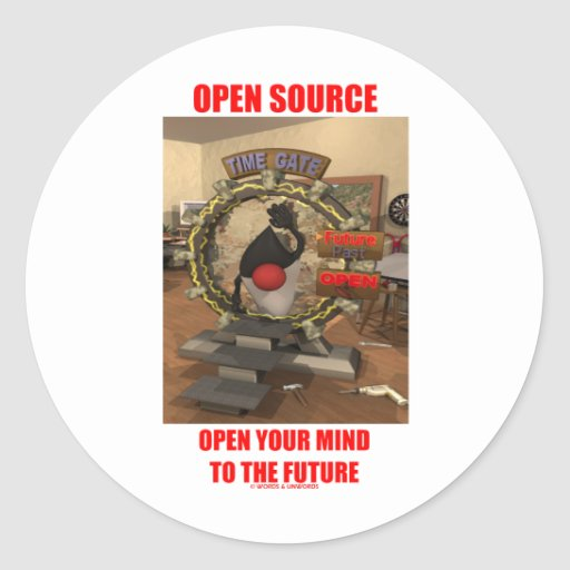 Open Source abre su mente en el futuro (el duque) Pegatina Redonda