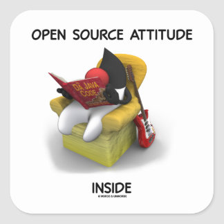 Open Source Attitude Inside (Duke Java Book Chair) Square Sticker