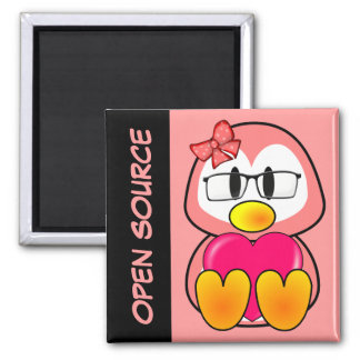 Open Source Chick (Women in Computing Technology) 2 Inch Square Magnet