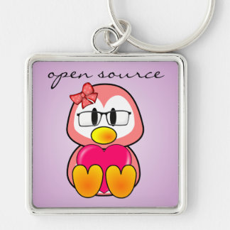 Open Source Chick (Women in Computing Technology) Silver-Colored Square Keychain